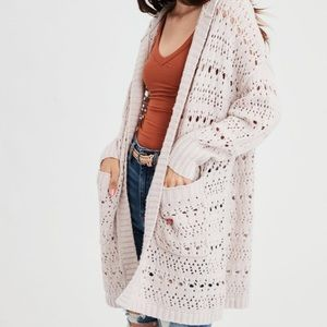 American Eagle Pointelle Knit Hooded Cardigan